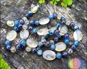 Citrine, Kyanite and Iolite Necklace