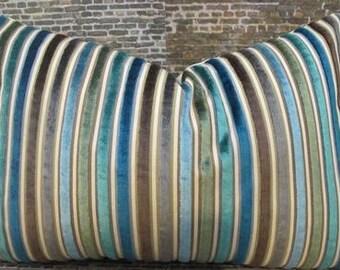 Designer Pillow Cover - Multi Velvet Stripe Teal