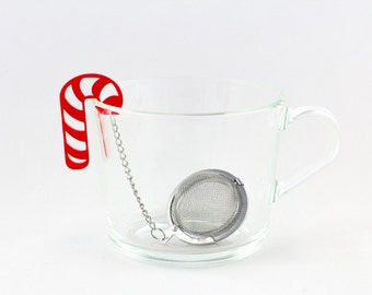 Tea gift | Stocking Stuffer, tea infuser, loose leaf tea, tea ball, tea steeper, handmade, tea strainer, candy cane gift, red candy cane,