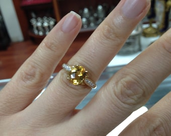 Citrine Ring, Citrine and Diamond  Ring,  Yellow Gold Citrine Ring. Oval Citrine Ring
