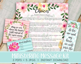 Ministering Message kit (formally Visiting Teaching) | Relief society Message Digital Printable LDS VT handout