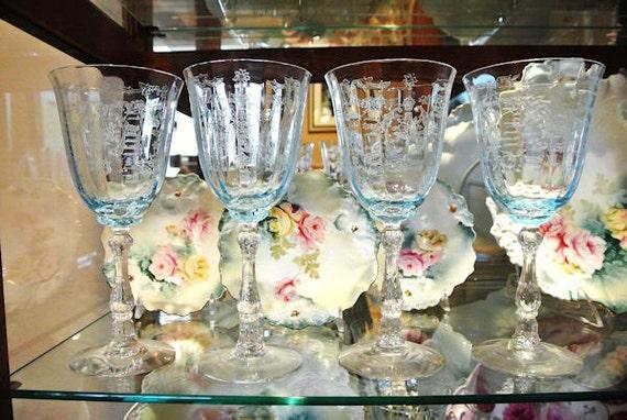 Blue Fostoria Azure Navarre / Water Goblets / Elegant Glassware