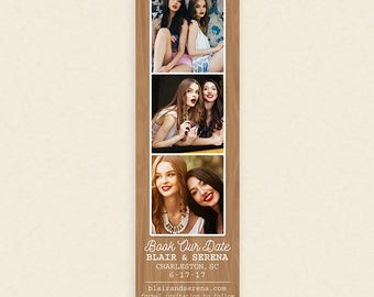 Photo Booth Save the Date Bookmark or Magnet - Affordable Rustic Save the Date