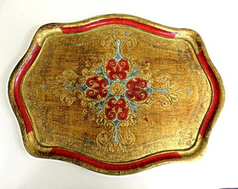 """VINTAGE 22"""" FLORENTINE TRAY, vg condition, embossed,hand painted gold,red,aqua,amber,Italian design,16"""" wide,gilt,home decor serving"""
