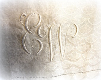 vintage linen embroidered tea towel guest towel oversized linen with hand embroidered E W monogram