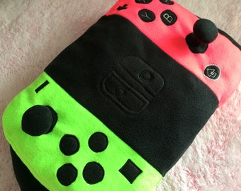 Neon Splatoon Hot Pink & Lime Green Nintendo Switch Pillow by MW