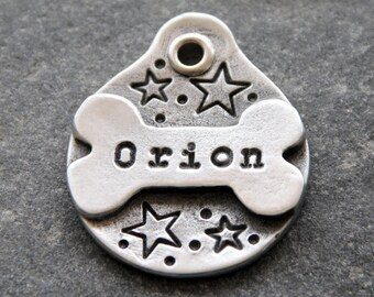 Dog ID Tag Custom Star Pet ID Tag Unique Dog Tag for Collar Personalized Dog Tag Hand Stamped Dog Tag Handmade in Minnesota