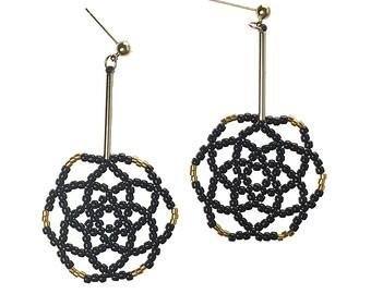 Black - Daisy Flower Drop Earrings