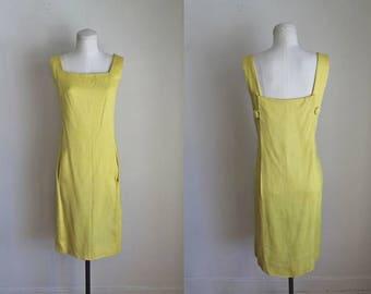 vintage 1960s dress - LEMON yellow shift dress / S/M