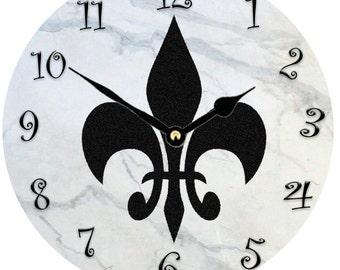 Black Fleur de lis  wall clock  available in 2 sizes from my original painting