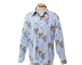 Vintage 70s Grape Vines Disco Shirt 1970s Grape Leaves Graphic Print Boogie Fever Polyester Pimp Dance Party Shirt / mens L