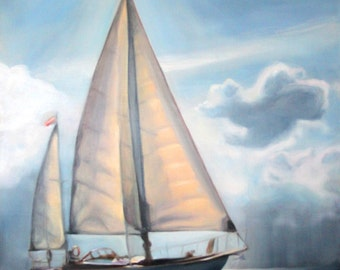 """Original Oil Painting: Yawl Sailboat amid sun and clouds """"Weatherly"""""""