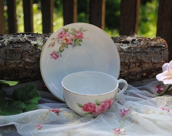 Vintage Tea Cup and Saucer Japan Roses