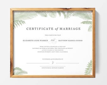 PRINTABLE | Custom Marriage Certificate, Wedding Certificate, Keepsake, Wedding Gift, Officiant Gift, Quaker Marriage Certificate