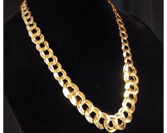 Retro Gold Double Link Chain Necklace, Vintage Necklace