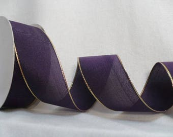 Purple gold metallic wired ribbon, french wired ribbon 38 mm x 15 yards