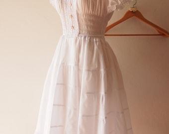 Juliet - Tiered Dress White Long Dress Boho Bohemian Heirloom Birthday Homecoming Bridal Shower Dress Summer Beach Rustic Boho Wedding Dress