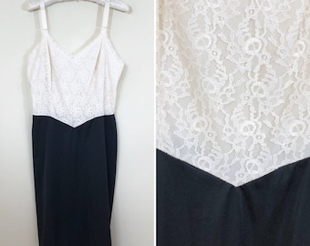 60s Cream Lace and Black Nylon Two Tone Full Slip, Size XS to Small