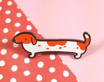 Dachshund white and red enamel pin 3.5cm - dog wiener dog sausage dog lapel pin brooch badge flair collar pin hat pin nature animal