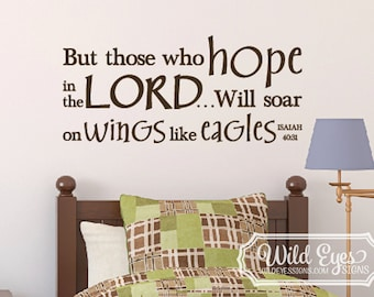 Isaiah 40:31 But those who hope in the Lord will soar on wings like eagles -Nursery Sky Bible Verse wall decal Child Vinyl ISA40V31-0003