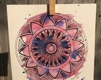 Pink/Purple Watercolor Mandala