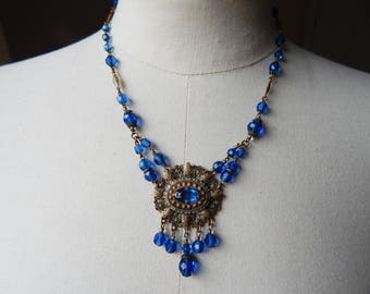 Vintage 1930s to 40s Blue Glass Bead and Filigree Brass Pendant Necklace - Probably Czech