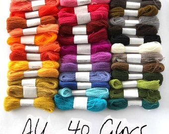 Forty colors of crewel embroidery wool in gorgeous bright colors - 27 yards per skein.