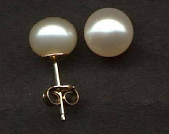 8.5mm solid gold AAA natural pearl stud earrings- Fresh water pearl studs- 14K Real Gold Post Earrings- bridal- Christmas- birthday- Mothers