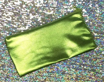 Metallic Green Alien Flesh Pencil Pouch - Small Cosmetic Zipper Bag - Vegan Leather Case - Purse Organizer - Makeup Bag - Small Toiletry Bag