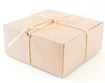 8 Large Square Kraft  Gift Boxes 8x8x3.5