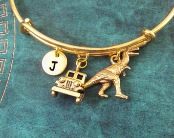 Truck Bangle Bracelet Dinosaur Bracelet T-Rex Bracelet Charm Bracelet Gold Bangle Stackable Bangle Adjustable Bangle Personalized Bangle