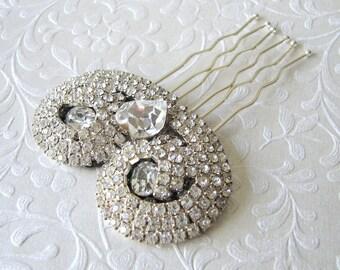 Jeweled Wedding Hair Comb Rhinestone Art Deco Hairpiece Heart Bridal Headpiece Formal 1920s Downton Abbey Great Gatsby Bride Vintage Jewelry