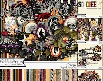 On Sale 50% Off Creepy Halloween 12x12 Digital Scrapbooking Kit, Holiday, Collection, Bundle