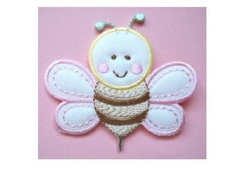 Bumblebee - Bumble Bee - Honey - Baby - Pink - Embroidered Iron On Applique Patch