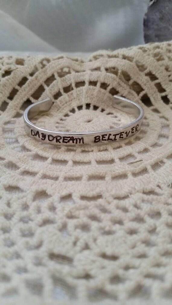 Daydream Believer Metal Stamped Bracelet, Inspirational Bracelet, intention jewelry, hand stamped bracelet,  quote jewelry, boho bracelet