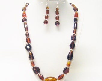 Mixed Shapes/Sizes/Shades Brown Foil Lined Glass Bead Necklace/Earrings