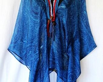 100% Silk Cobalt BluePaisley Kaftan Top