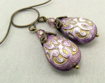 Purple and Gold Dangle Earrings, Shabby Chic, 1928 Style, Gift under 15, Gift for mom, Nostalgic Jewelry, Vintage Flair