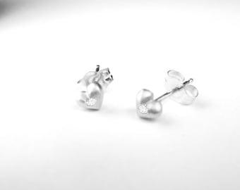 Special Mini Heart Earrings with diamonds Solid 10K White Gold Stud Earrings