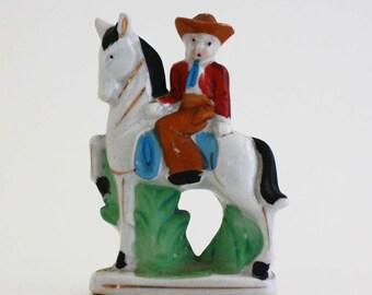 Vintage Mounted Cowboy on Horse Figurine