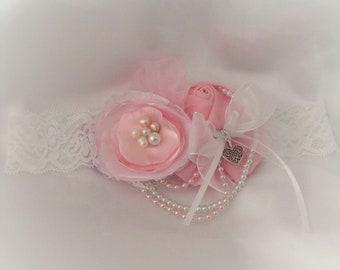 Jarretière en dentelle - dentelle rose Satin & Antique blanc doux souvenir jarretière d'inspiration Vintage