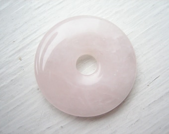 Rose quartz donut pendant, rose quartz pendant, 30mm rose quartz, 30mm donut, pink gemstone, soothing stone, pocket stone, worry stone
