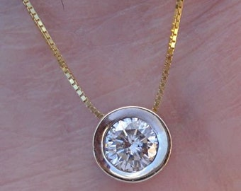 0.50 Carat Diamond Solitaire Pendant in a 14K Yellow Gold Bezel Setting SI1 F