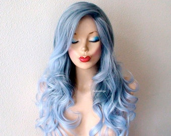 Mermaid blue wig. Lace front wig. Pastel blue ombre wig. Long curly hair long side bangs wig. Durable wig for daytime wear or Cosplay.