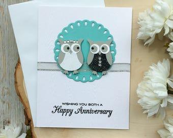 Handmade Anniversary Card, Owl Card, Love Card, Happy Anniversary Card, Anniversary Card, Valentines Card, Custom, Valentines Day Card