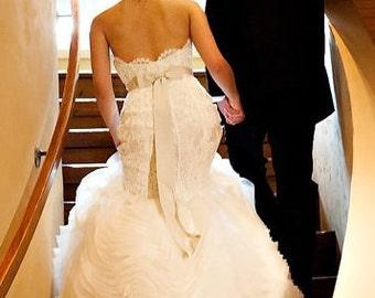 Bridal Sash - Ivory Wedding Sash - Romantic Luxe Grosgrain Sash - Wedding Dress Sash and Bridal Belt