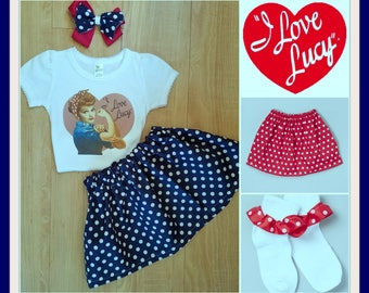 I Love Lucy Inspired Outfit, I Love Lucy Birthday Set, I Love Lucy Tee Shirt, I Love Lucy Portrait Set