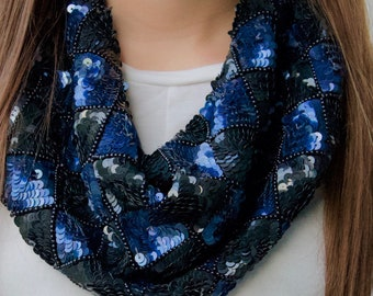 Hand sewn, black and blue harlequin silk scarf necklace