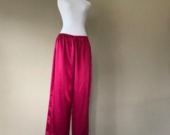 L / Satin Sleep Pajama Pants Lingerie / Capri Length / Large / FREE USA Shipping