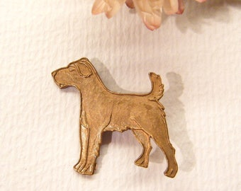"Vintage Button, Terrier Dog, Copper Metal, 7/8"", ANIMAL CHARITY DONATION"